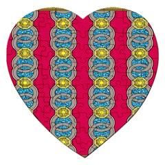 African Fabric Iron Chains Red Yellow Blue Grey Jigsaw Puzzle (heart) by Alisyart