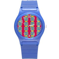 African Fabric Iron Chains Red Yellow Blue Grey Round Plastic Sport Watch (s) by Alisyart