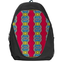 African Fabric Iron Chains Red Yellow Blue Grey Backpack Bag by Alisyart