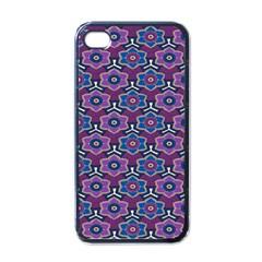 African Fabric Flower Purple Apple Iphone 4 Case (black) by Alisyart