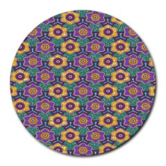 African Fabric Flower Green Purple Round Mousepads by Alisyart