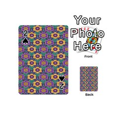 African Fabric Flower Green Purple Playing Cards 54 (mini)  by Alisyart