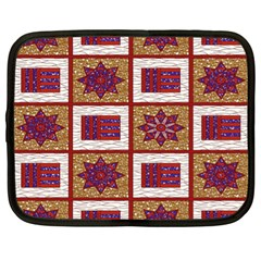 African Fabric Star Plaid Gold Blue Red Netbook Case (xl)  by Alisyart