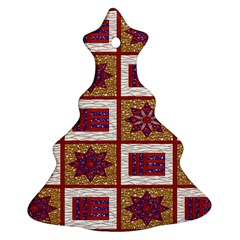 African Fabric Star Plaid Gold Blue Red Ornament (christmas Tree)  by Alisyart
