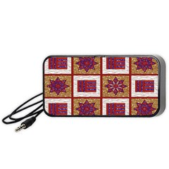 African Fabric Star Plaid Gold Blue Red Portable Speaker (black) by Alisyart