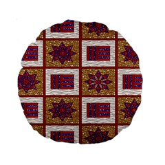 African Fabric Star Plaid Gold Blue Red Standard 15  Premium Round Cushions by Alisyart