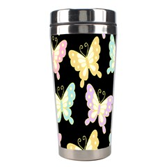Butterfly Fly Gold Pink Blue Purple Black Stainless Steel Travel Tumblers by Alisyart