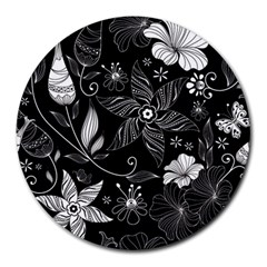 Floral Flower Rose Black Leafe Round Mousepads by Alisyart