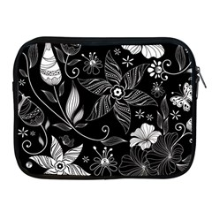 Floral Flower Rose Black Leafe Apple Ipad 2/3/4 Zipper Cases by Alisyart