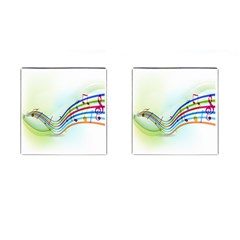 Color Musical Note Waves Cufflinks (square) by Alisyart