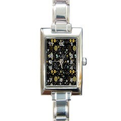 Floral And Butterfly Black Spring Rectangle Italian Charm Watch by Alisyart