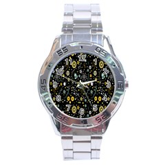 Floral And Butterfly Black Spring Stainless Steel Analogue Watch by Alisyart