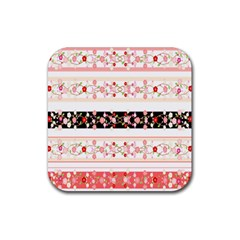 Flower Arrangements Season Floral Rose Pink Black Rubber Square Coaster (4 Pack)  by Alisyart