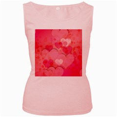 Hearts Pink Background Women s Pink Tank Top