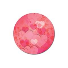 Hearts Pink Background Magnet 3  (round)