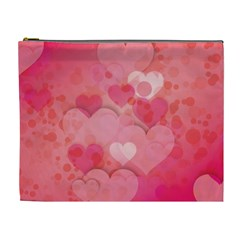 Hearts Pink Background Cosmetic Bag (xl) by Amaryn4rt