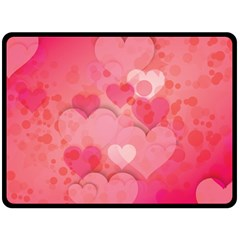 Hearts Pink Background Double Sided Fleece Blanket (large)