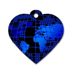 Network Networking Europe Asia Dog Tag Heart (one Side) by Amaryn4rt