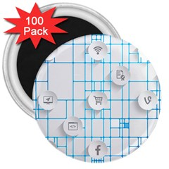 Icon Media Social Network 3  Magnets (100 Pack) by Amaryn4rt