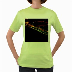 Highway Night Lighthouse Car Fast Women s Green T Shirt by Amaryn4rt