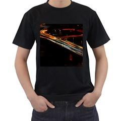 Highway Night Lighthouse Car Fast Men s T Shirt (black) (two Sided) by Amaryn4rt