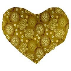 Flower Arrangements Season Gold Large 19  Premium Flano Heart Shape Cushions by Alisyart