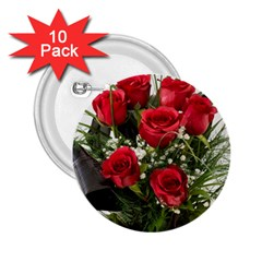 Red Roses Roses Red Flower Love 2 25  Buttons (10 Pack)  by Amaryn4rt