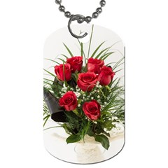 Red Roses Roses Red Flower Love Dog Tag (two Sides) by Amaryn4rt