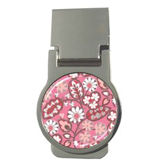 Flower Floral Red Blush Pink Money Clips (round)  by Alisyart