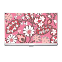 Flower Floral Red Blush Pink Business Card Holders by Alisyart