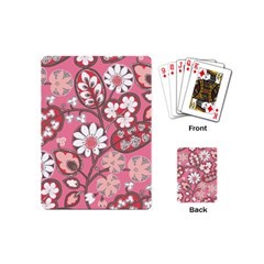 Flower Floral Red Blush Pink Playing Cards (mini)  by Alisyart