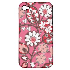 Flower Floral Red Blush Pink Apple Iphone 4/4s Hardshell Case (pc+silicone) by Alisyart