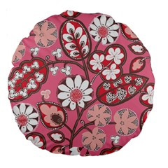 Flower Floral Red Blush Pink Large 18  Premium Round Cushions by Alisyart