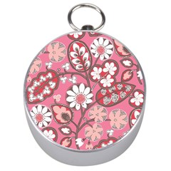 Flower Floral Red Blush Pink Silver Compasses by Alisyart