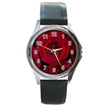 Roses Flowers Red Forest Bloom Round Metal Watch