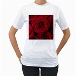 Roses Flowers Red Forest Bloom Women s T-Shirt (White) (Two Sided)