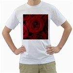 Roses Flowers Red Forest Bloom Men s T-Shirt (White) (Two Sided)