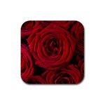 Roses Flowers Red Forest Bloom Rubber Coaster (Square)