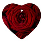 Roses Flowers Red Forest Bloom Heart Ornament (Two Sides)