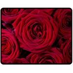 Roses Flowers Red Forest Bloom Double Sided Fleece Blanket (Medium)