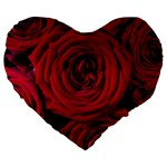 Roses Flowers Red Forest Bloom Large 19  Premium Flano Heart Shape Cushions