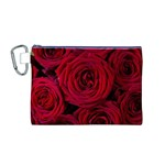 Roses Flowers Red Forest Bloom Canvas Cosmetic Bag (M)