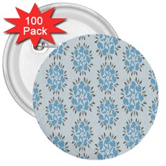 Flower Floral Rose Bird Animals Blue Grey Study 3  Buttons (100 Pack)  by Alisyart