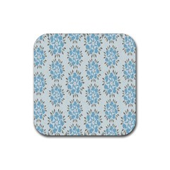 Flower Floral Rose Bird Animals Blue Grey Study Rubber Square Coaster (4 Pack)  by Alisyart