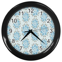 Flower Floral Rose Bird Animals Blue Grey Study Wall Clocks (black) by Alisyart