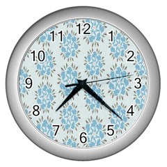 Flower Floral Rose Bird Animals Blue Grey Study Wall Clocks (silver)  by Alisyart