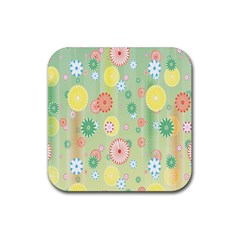 Flower Arrangements Season Pink Yellow Red Rose Sunflower Rubber Square Coaster (4 Pack)  by Alisyart
