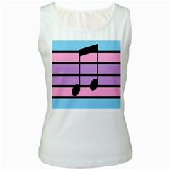 Music Gender Pride Note Flag Blue Pink Purple Women s White Tank Top by Alisyart