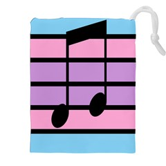 Music Gender Pride Note Flag Blue Pink Purple Drawstring Pouches (xxl) by Alisyart