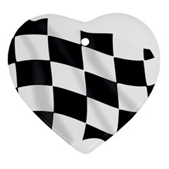 Flag Chess Corse Race Auto Road Heart Ornament (two Sides) by Amaryn4rt